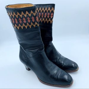 Davos Gomma | Black Leather Heeled Boots - Size 8